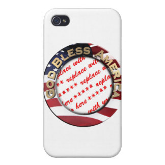 God Bless America Patriotic Photo Frame Covers For iPhone 4