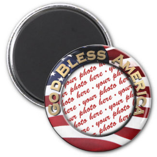 God Bless America Patriotic Photo Frame Magnet