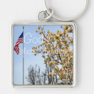 God Bless America Silver-Colored Square Key Ring