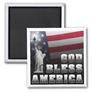 God Bless America Square Magnet