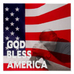 God Bless America Square Poster - Flag/Man Praying