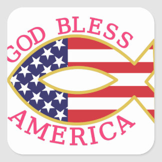 God Bless America Square Sticker
