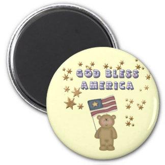 God Bless America  Teddy Bear 6 Cm Round Magnet