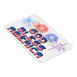 God Bless America Text Design With Fireworks Rectangle Magnet