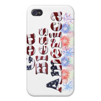 God Bless America Text w/Fireworks Cover For iPhone 4