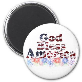 God Bless America Text w/Fireworks Magnet