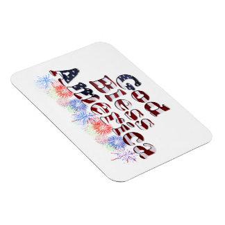 God Bless America Text w/Fireworks Vinyl Magnet