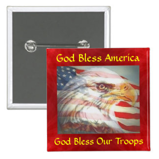 God Bless America/Troops 15 Cm Square Badge
