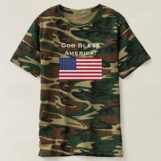 God Bless America. Usa Flag. Patriotism Military T-Shirt