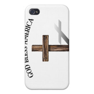 GOD BLESS AMERICA with rugged cross iPhone 4 Case