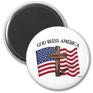 GOD BLESS AMERICA with rugged cross & US flag 6 Cm Round Magnet