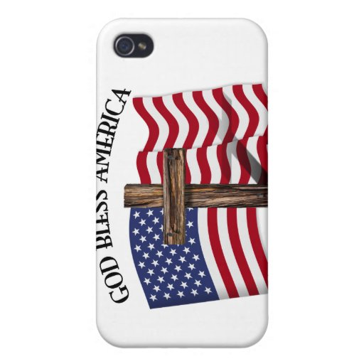 GOD BLESS AMERICA with rugged cross & US flag iPhone 4 Case