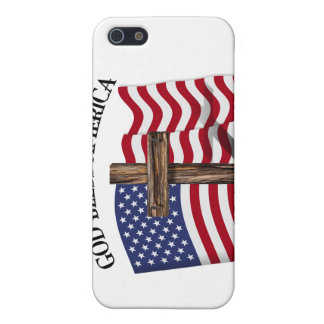 GOD BLESS AMERICA with rugged cross & US flag iPhone 5 Cover