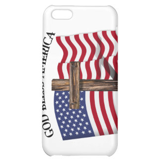 GOD BLESS AMERICA with rugged cross & US flag iPhone 5C Cases