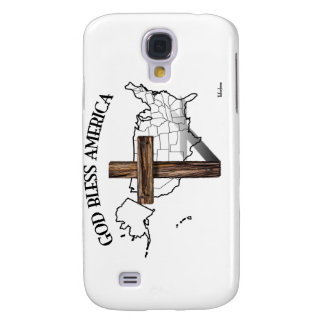 GOD BLESS AMERICA with rugged cross US outline Galaxy S4 Covers