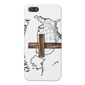 GOD BLESS AMERICA with rugged cross & US outline Case For iPhone 5
