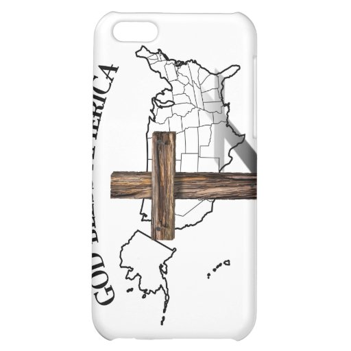 GOD BLESS AMERICA with rugged cross & US outline Case For iPhone 5C