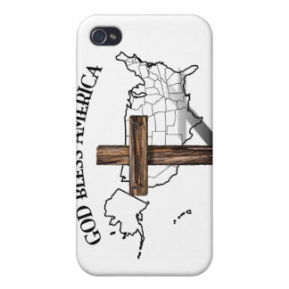 GOD BLESS AMERICA with rugged cross US outline iPhone 4 Cases