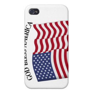 GOD BLESS AMERICA with US flag iPhone 4 Case