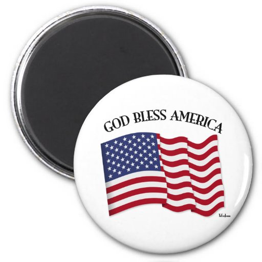 GOD BLESS AMERICA with US flag Magnet