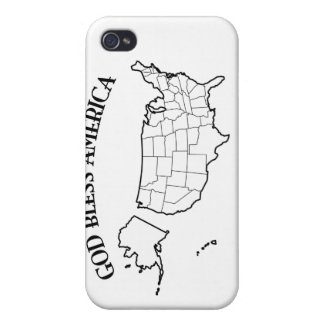 GOD BLESS AMERICA with US outline iPhone 4/4S Cases