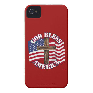 God Bless American with USA Flag Cross iPhone 4 Case-Mate Cases