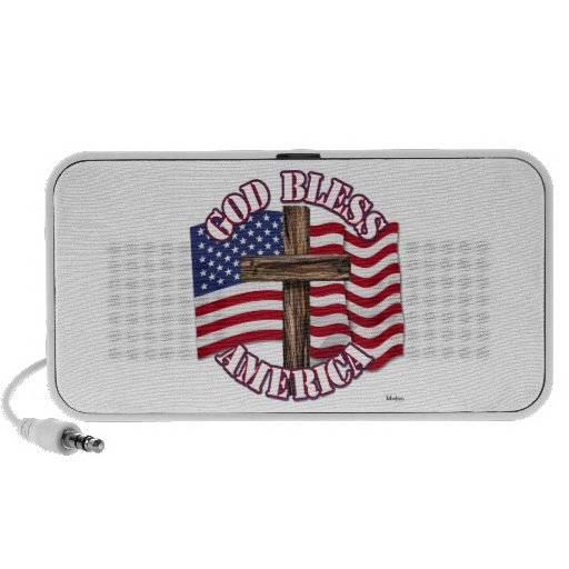 God Bless American with USA Flag & Cross Notebook Speakers