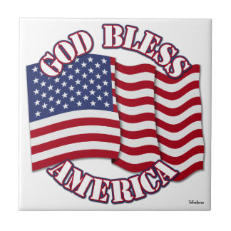 God Bless American with USA Flag Small Square Tile
