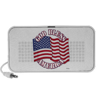 God Bless American with USA Flag Mini Speakers