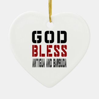 God Bless Antigua and Barbuda Ceramic Heart Decoration