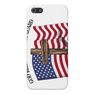 GOD BLESS COAST GUARD with rugged cross & US flag Case For iPhone 5/5S