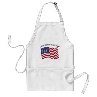 GOD BLESS COAST GUARD with US flag Aprons