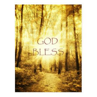 GOD BLESS on GOLDSUN POSTCARD