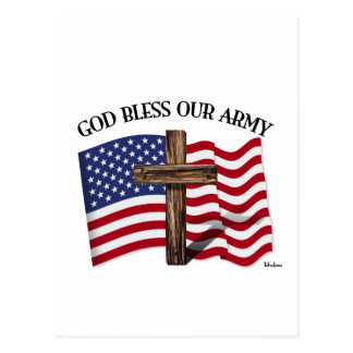 GOD BLESS OUR ARMY with rugged cross & US flag Postcard