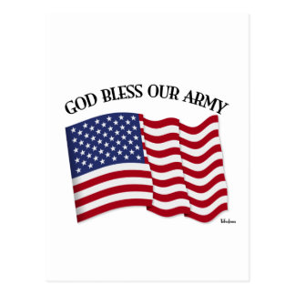 GOD BLESS OUR ARMY with US flag Postcard