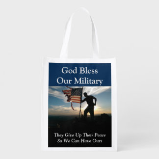 God Bless Our Military Reusable Grocery Bag