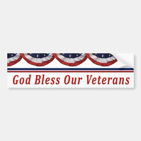 God Bless Our Military Veterans Bumper Sticker