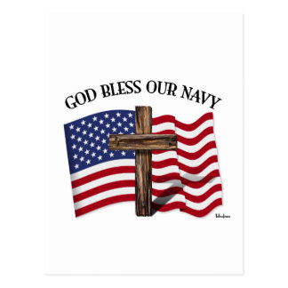 GOD BLESS OUR NAVY with rugged cross & US flag Postcard