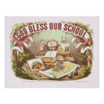 'God Bless Our School' Currier and Ives Poster