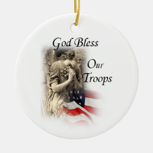 God Bless Our Troops Praying Angel with US Flag Christmas Ornament