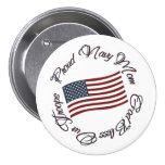 God Bless Our Troops, Proud Navy Mum Pinback Buttons