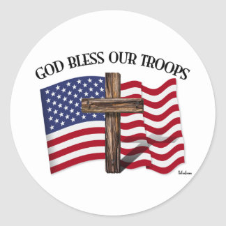 God Bless Our Troops with rugged cross and US flag Round Sticker
