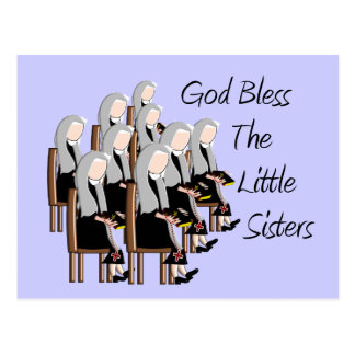 God Bless The Little Sisters Postcard