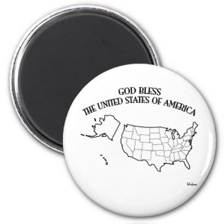 GOD BLESS THE UNITED STATES OF AMERICA US outline 6 Cm Round Magnet