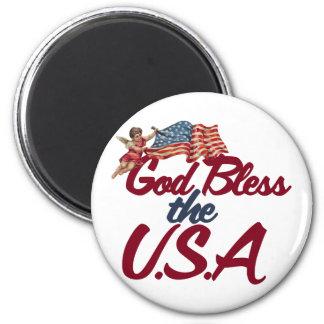 God bless the USA 6 Cm Round Magnet