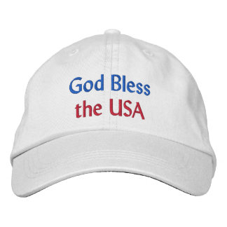 God Bless the USA Embroidered Hat