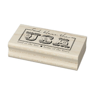 God Bless the USA Patriotic Rubber Art Stamp