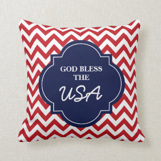 God Bless The USA, Red White Blue Chevron Stripes Cushion