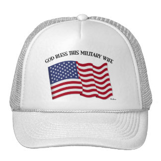 GOD BLESS THIS MILITARY WIFE with US flag Mesh Hats
