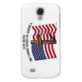 GOD BLESS UNITED STATES OF AMERICA cross US flag Samsung Galaxy S4 Case